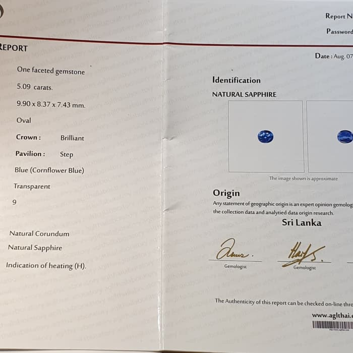 Batu Cornflower Blue Sapphire Ceylon Srilanka HQ Sertifikat 5.09 crt